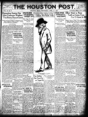 Primary view of object titled 'The Houston Post. (Houston, Tex.), Vol. 38, No. 8, Ed. 1 Wednesday, April 12, 1922'.