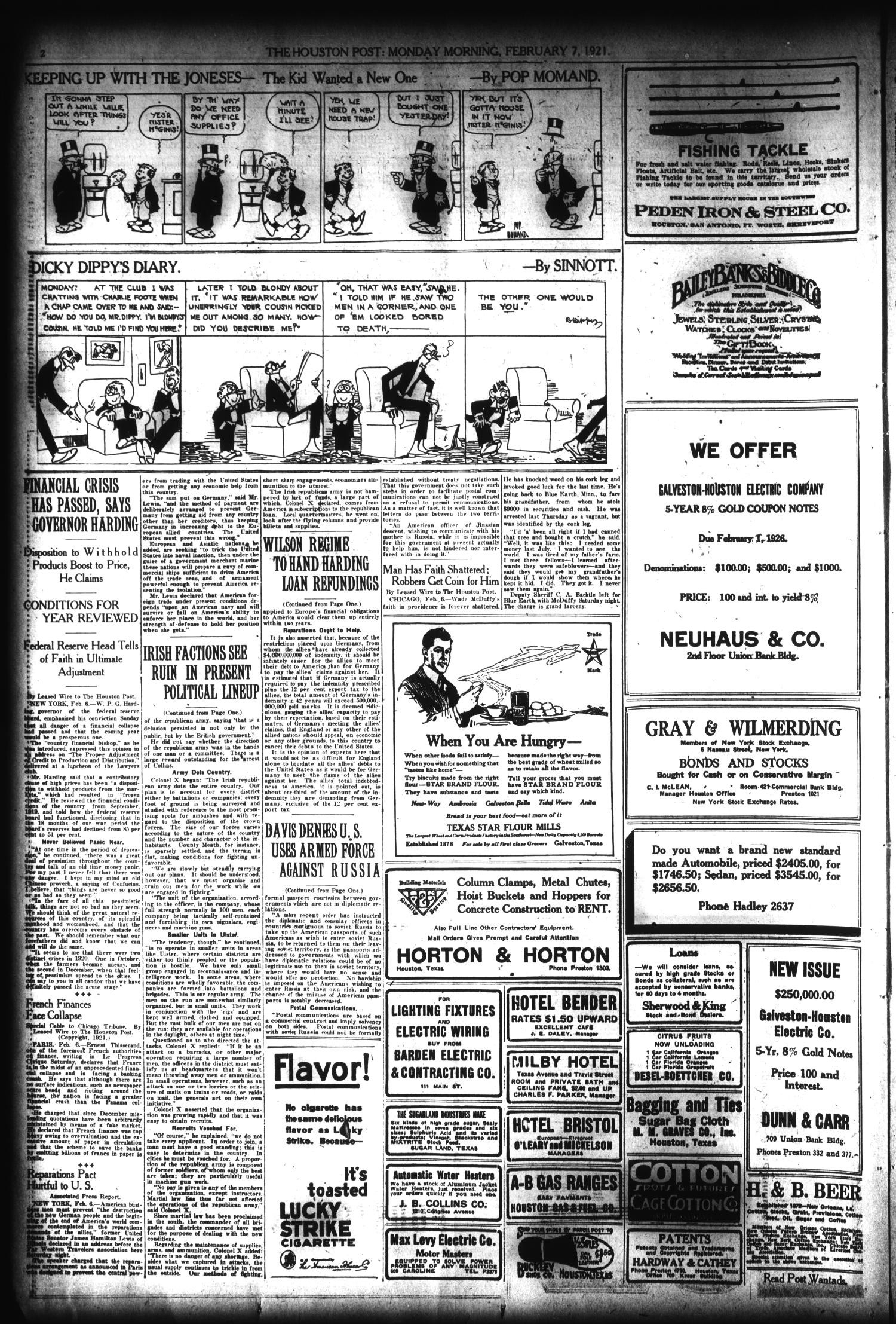 The Houston Post. (Houston, Tex.), Vol. 36, No. 310, Ed. 1 Monday, February 7, 1921                                                                                                      [Sequence #]: 2 of 14