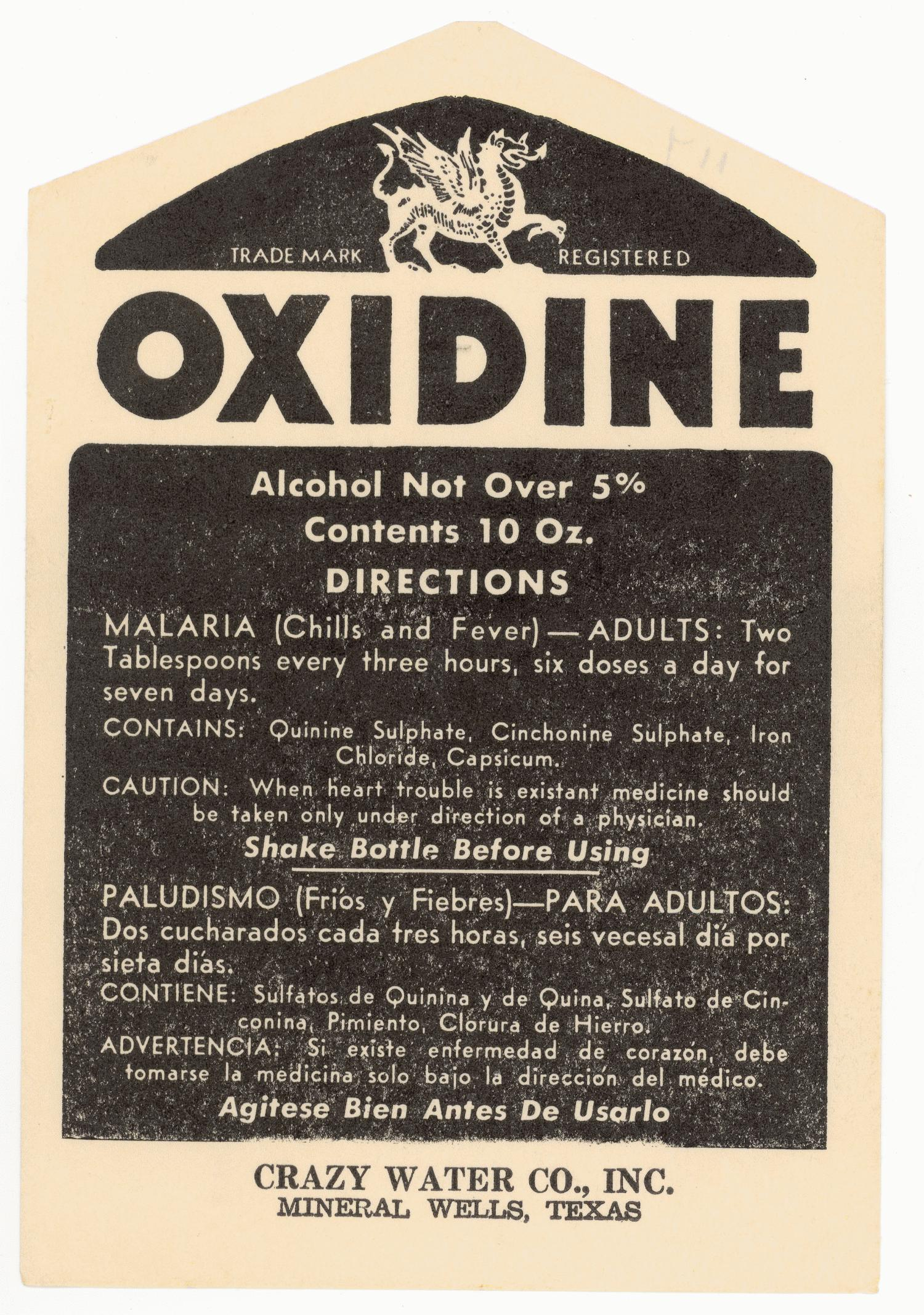 "[A Crazy Water ""Oxidine"" Bottle Label]                                                                                                      [Sequence #]: 1 of 1"