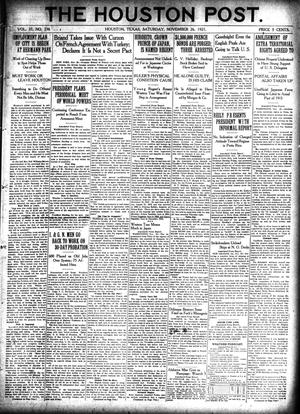 Primary view of object titled 'The Houston Post. (Houston, Tex.), Vol. 37, No. 236, Ed. 1 Saturday, November 26, 1921'.