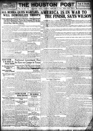 Primary view of object titled 'The Houston Post. (Houston, Tex.), Vol. 33, No. 314, Ed. 1 Tuesday, February 12, 1918'.