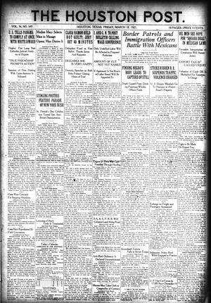 Primary view of object titled 'The Houston Post. (Houston, Tex.), Vol. 36, No. 349, Ed. 1 Friday, March 18, 1921'.