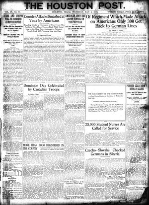 Primary view of object titled 'The Houston Post. (Houston, Tex.), Vol. 34, No. 91, Ed. 1 Thursday, July 4, 1918'.