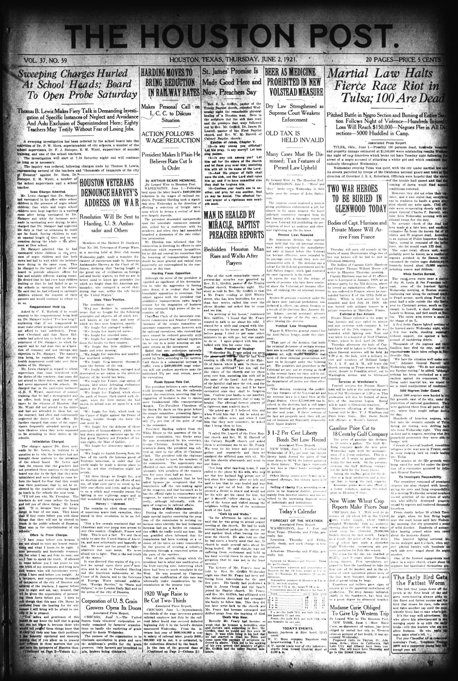 The Houston Post. (Houston, Tex.), Vol. 37, No. 59, Ed. 1 Thursday, June 2, 1921                                                                                                      [Sequence #]: 1 of 20
