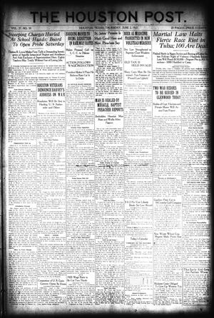 Primary view of object titled 'The Houston Post. (Houston, Tex.), Vol. 37, No. 59, Ed. 1 Thursday, June 2, 1921'.