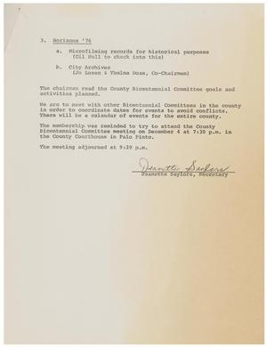 Primary view of object titled 'The Final page of the Minutes of the Bicentennial Committee, 1975'.