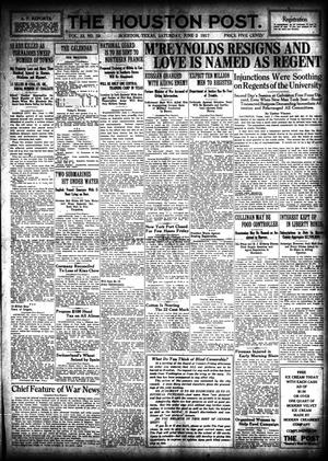 Primary view of object titled 'The Houston Post. (Houston, Tex.), Vol. 33, No. 59, Ed. 1 Saturday, June 2, 1917'.