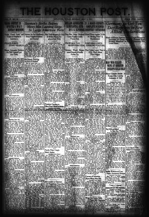 Primary view of object titled 'The Houston Post. (Houston, Tex.), Vol. 37, No. 28, Ed. 1 Monday, May 2, 1921'.