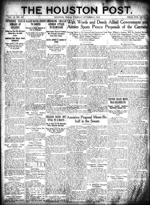 Primary view of object titled 'The Houston Post. (Houston, Tex.), Vol. 34, No. 187, Ed. 1 Tuesday, October 8, 1918'.