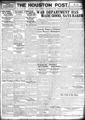 Primary view of object titled 'The Houston Post. (Houston, Tex.), Vol. 33, No. 300, Ed. 1 Tuesday, January 29, 1918'.