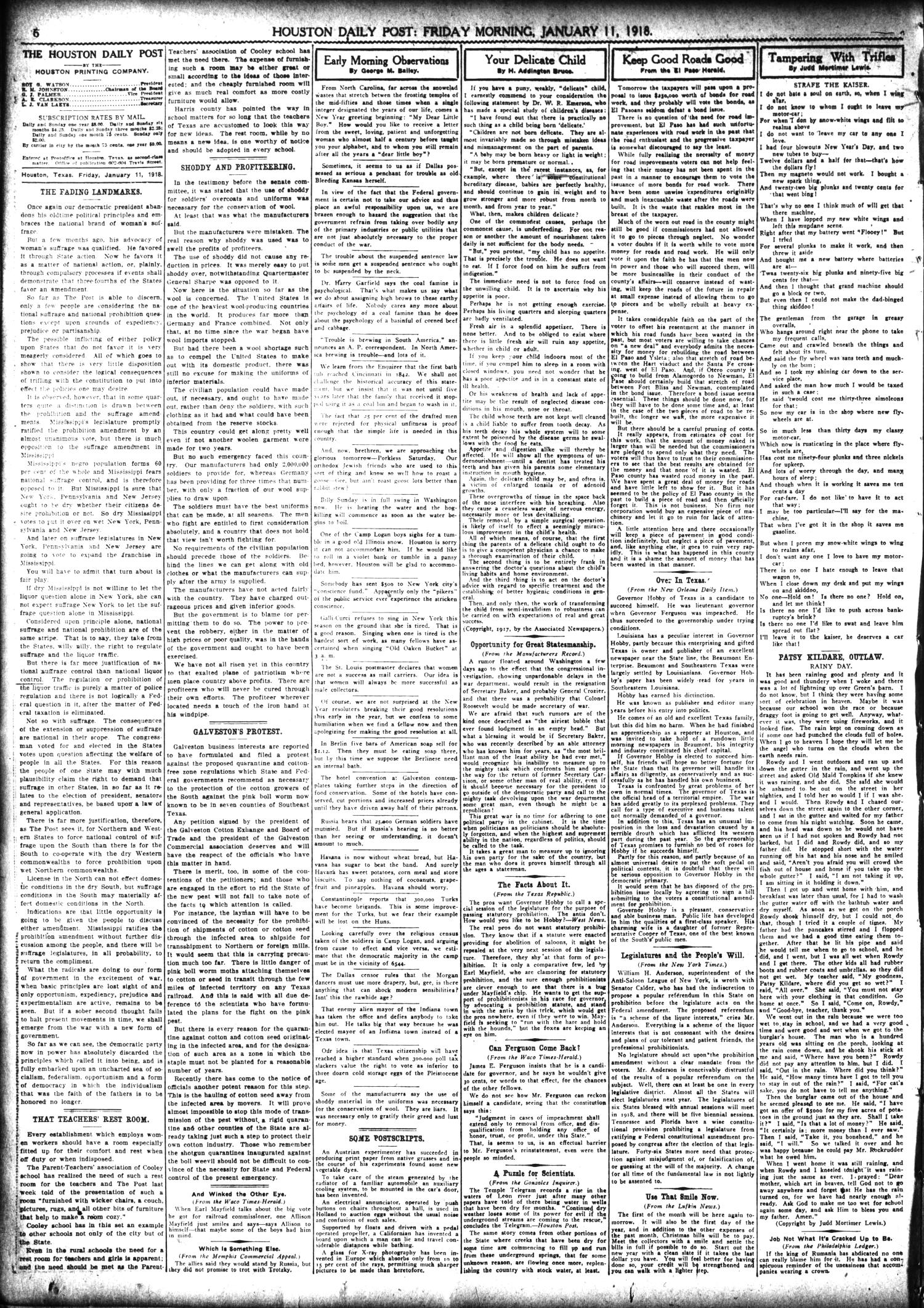 The Houston Post. (Houston, Tex.), Vol. 33, No. 282, Ed. 1 Friday, January 11, 1918                                                                                                      [Sequence #]: 6 of 14