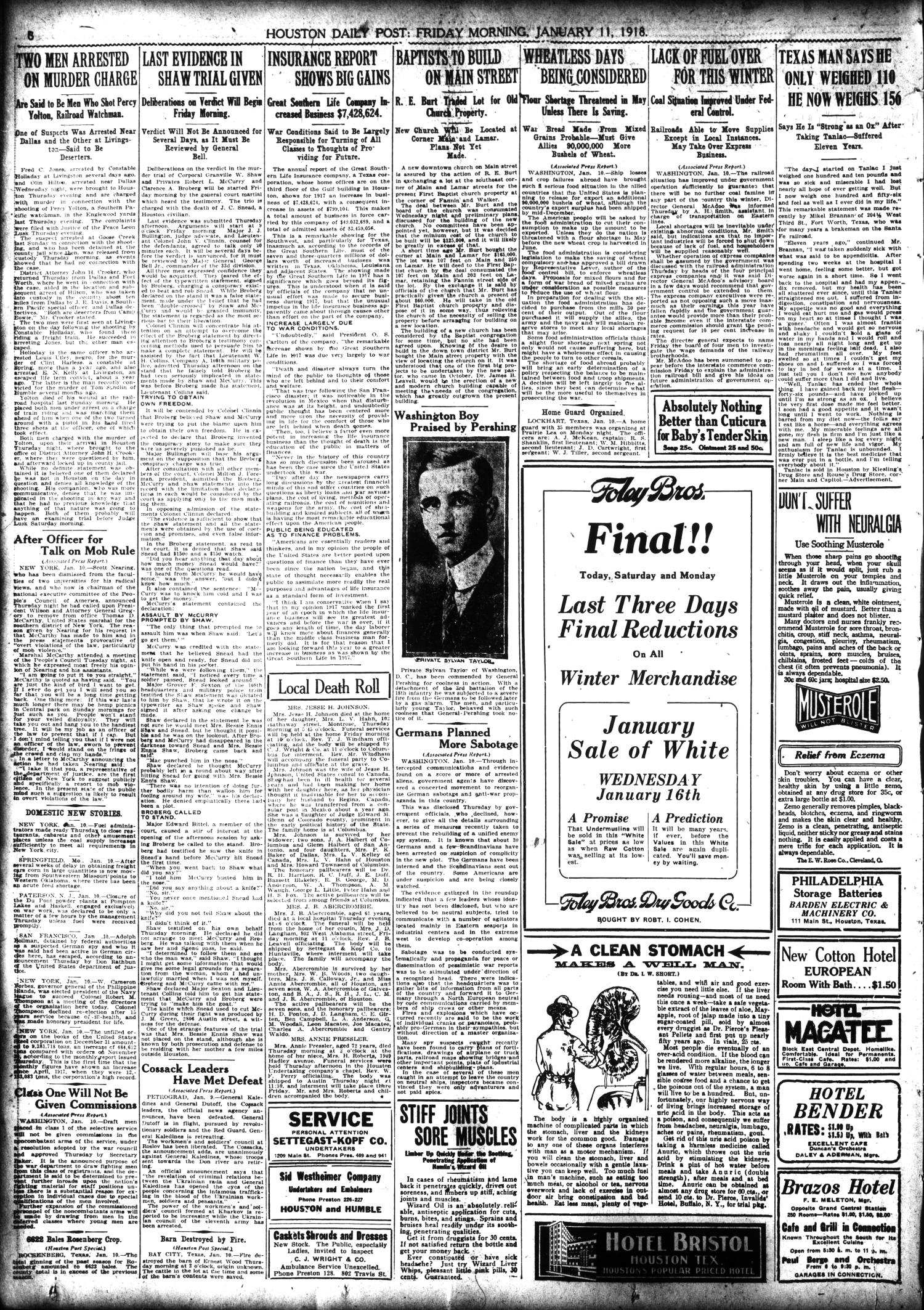 The Houston Post. (Houston, Tex.), Vol. 33, No. 282, Ed. 1 Friday, January 11, 1918                                                                                                      [Sequence #]: 8 of 14