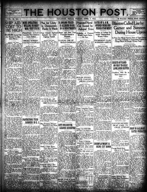 Primary view of object titled 'The Houston Post. (Houston, Tex.), Vol. 38, No. 3, Ed. 1 Friday, April 7, 1922'.