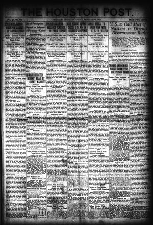 Primary view of object titled 'The Houston Post. (Houston, Tex.), Vol. 36, No. 308, Ed. 1 Saturday, February 5, 1921'.