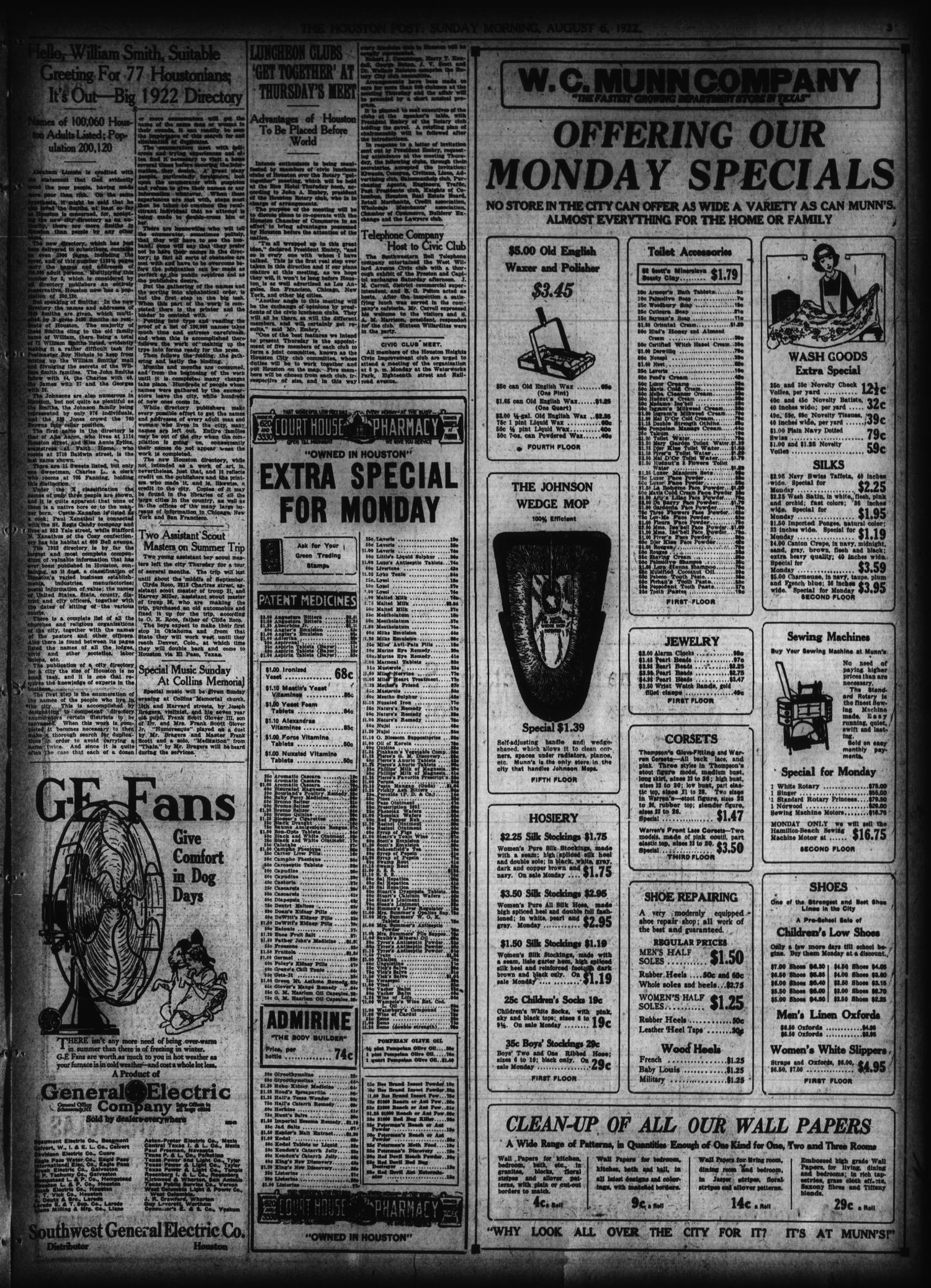The Houston Post. (Houston, Tex.), Vol. 38, No. 124, Ed. 1 Sunday, August 6, 1922                                                                                                      [Sequence #]: 3 of 48