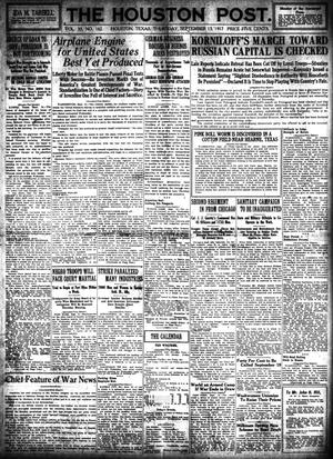 Primary view of object titled 'The Houston Post. (Houston, Tex.), Vol. 33, No. 162, Ed. 1 Thursday, September 13, 1917'.