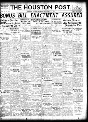 Primary view of object titled 'The Houston Post. (Houston, Tex.), Vol. 38, No. 221, Ed. 1 Saturday, November 11, 1922'.
