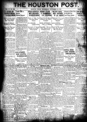 Primary view of object titled 'The Houston Post. (Houston, Tex.), Vol. 37, No. 240, Ed. 1 Wednesday, November 30, 1921'.