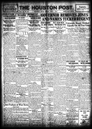 Primary view of object titled 'The Houston Post. (Houston, Tex.), Vol. 33, No. 58, Ed. 1 Friday, June 1, 1917'.