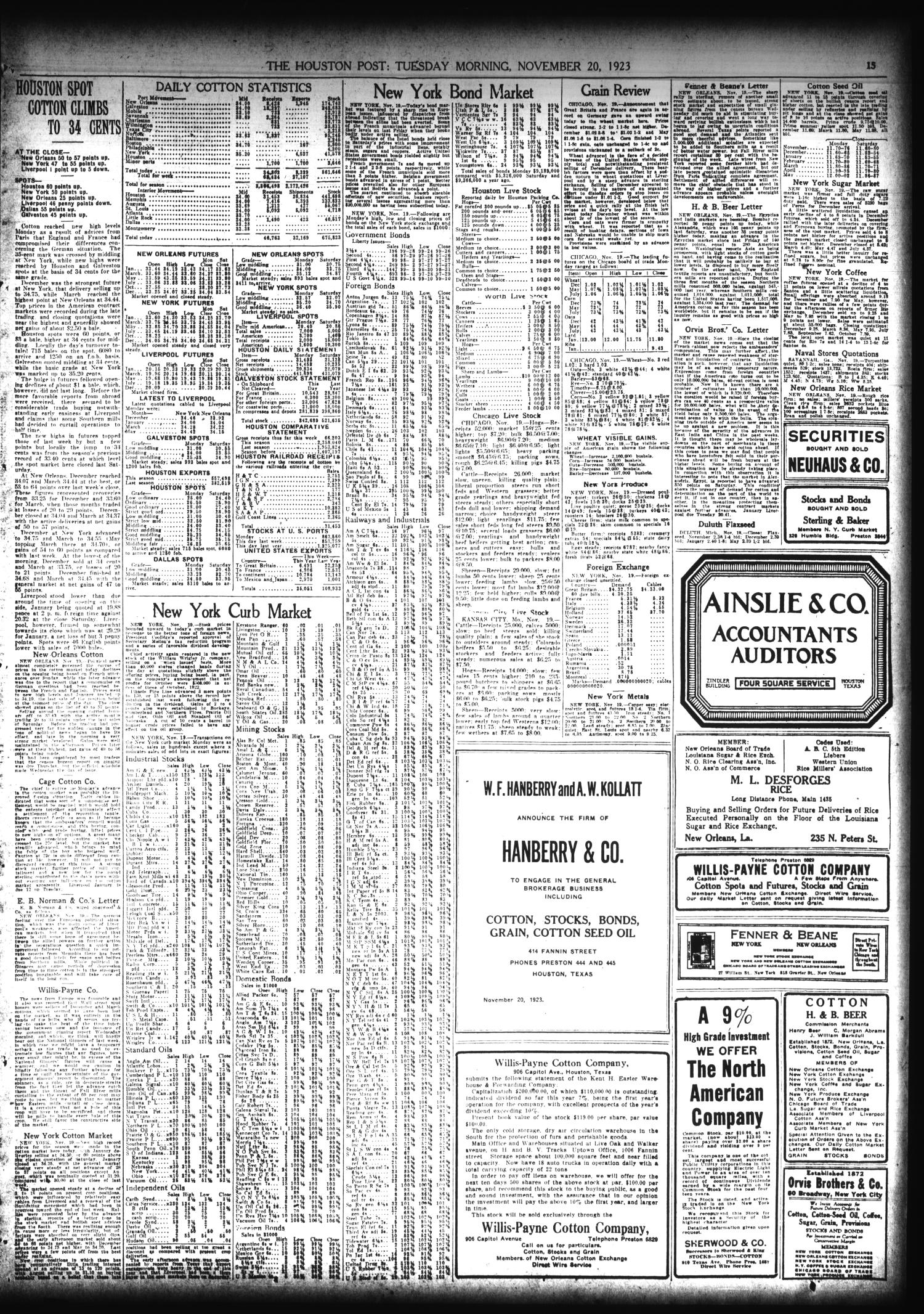 The Houston Post. (Houston, Tex.), Vol. 39, No. 230, Ed. 1 Tuesday, November 20, 1923                                                                                                      [Sequence #]: 15 of 16