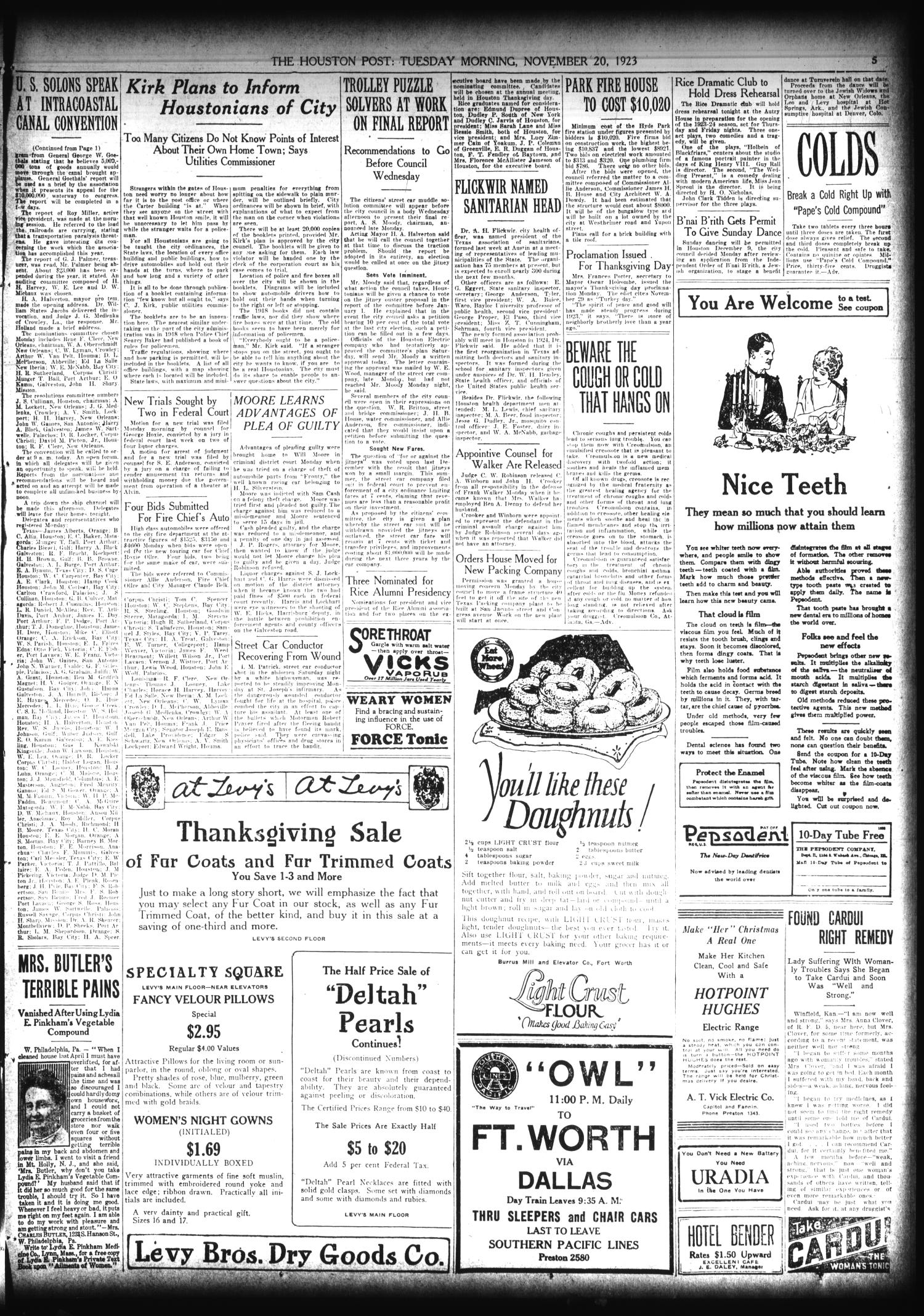 The Houston Post. (Houston, Tex.), Vol. 39, No. 230, Ed. 1 Tuesday, November 20, 1923                                                                                                      [Sequence #]: 5 of 16
