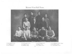 White background with black and white photograph of 12 men in rows of 4 covering most of the page. The text Normal Football Team is in the center  top of the pic. The names of all the men line the bottom of the page in  4 columns in rows of 3.