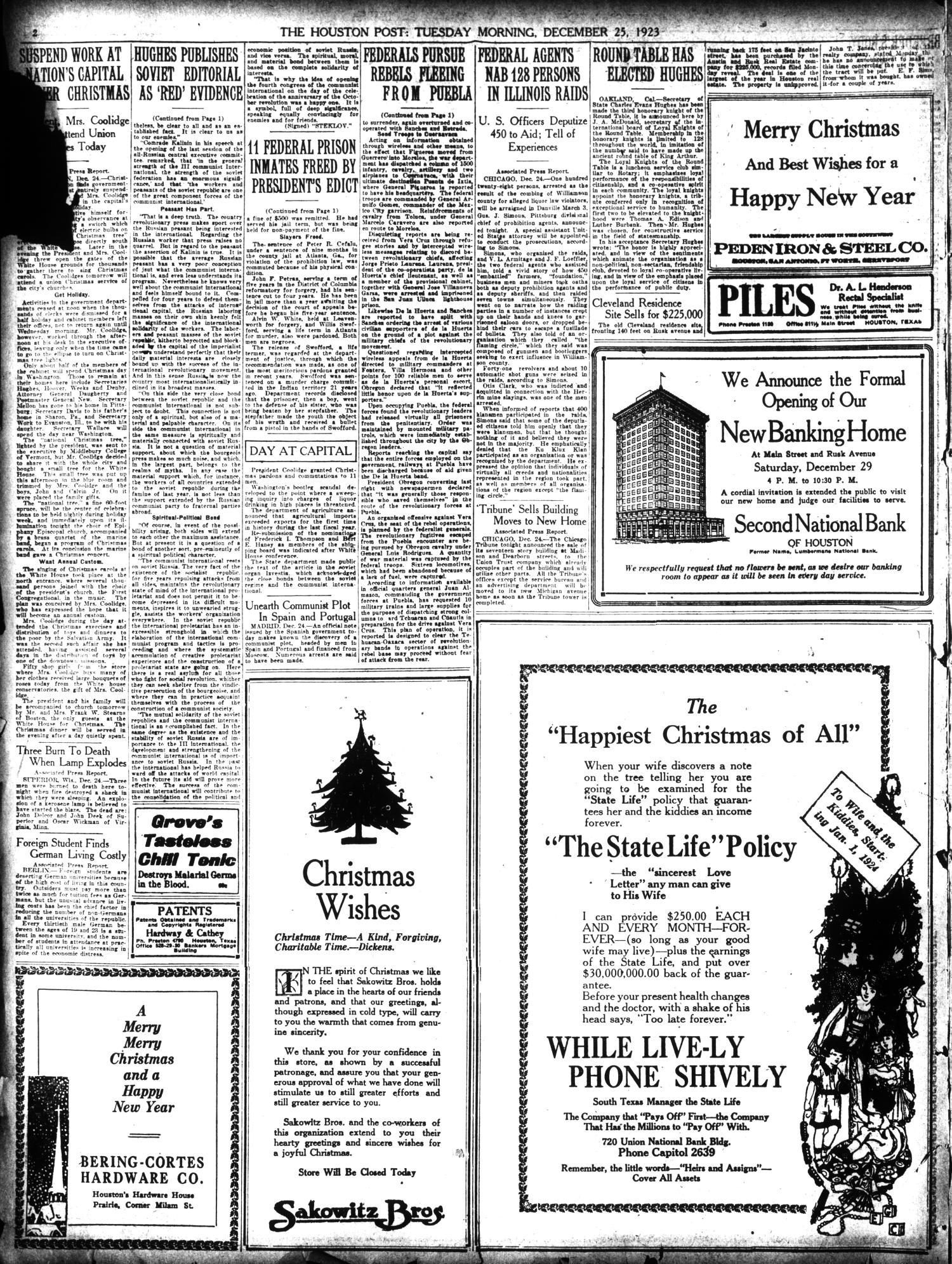 The Houston Post. (Houston, Tex.), Vol. 39, No. 265, Ed. 1 Tuesday, December 25, 1923                                                                                                      [Sequence #]: 2 of 32