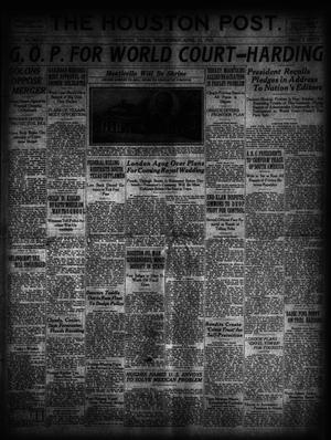Primary view of object titled 'The Houston Post. (Houston, Tex.), Vol. 39, No. 21, Ed. 1 Wednesday, April 25, 1923'.