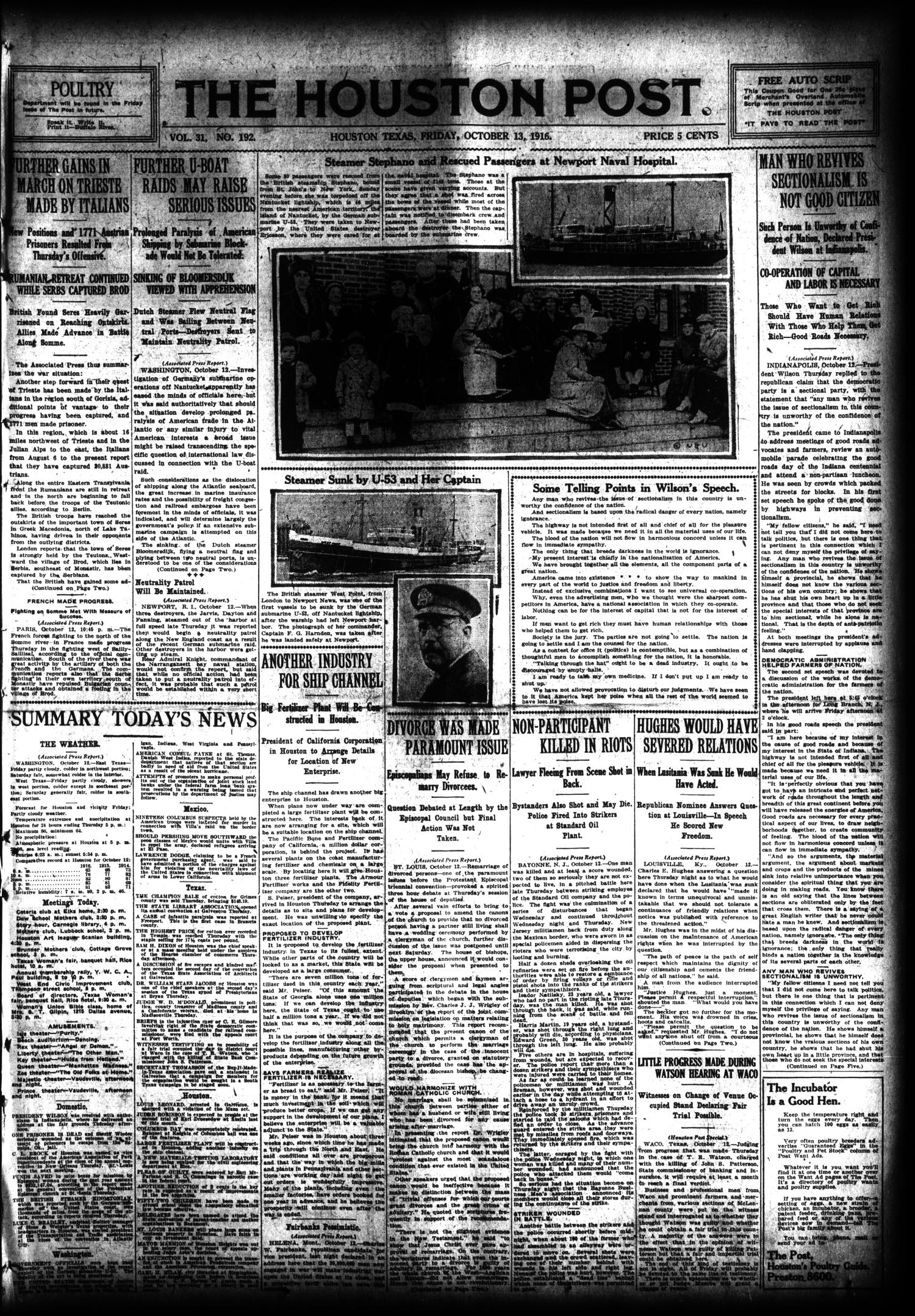 The Houston Post. (Houston, Tex.), Vol. 31, No. 192, Ed. 1 Friday, October 13, 1916                                                                                                      [Sequence #]: 1 of 16