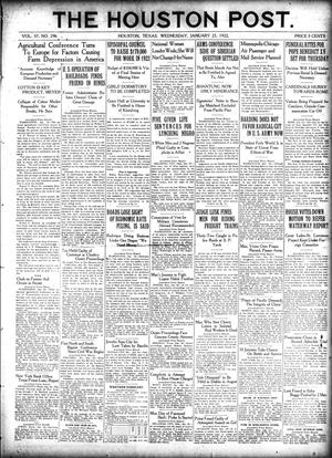 Primary view of object titled 'The Houston Post. (Houston, Tex.), Vol. 37, No. 296, Ed. 1 Wednesday, January 25, 1922'.