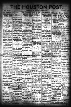 Primary view of object titled 'The Houston Post. (Houston, Tex.), Vol. 37, No. 2, Ed. 1 Wednesday, April 6, 1921'.