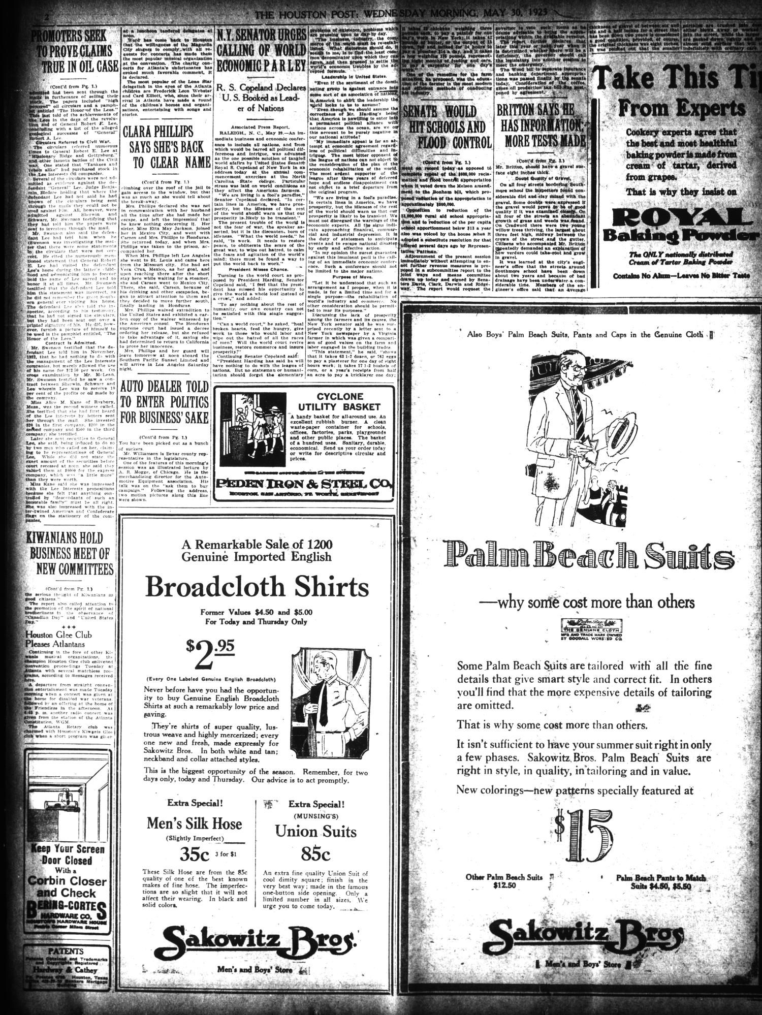 The Houston Post. (Houston, Tex.), Vol. 39, No. 56, Ed. 1 Wednesday, May 30, 1923                                                                                                      [Sequence #]: 2 of 18