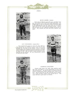 White page with three paragraphs of text. Next to each one is a picture of a man in a sports uniform. It is framed by green. The words The Yucca 1922 are at the botttom.