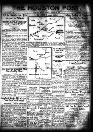 Primary view of object titled 'The Houston Post. (Houston, Tex.), Vol. 34, No. 124, Ed. 1 Tuesday, August 6, 1918'.