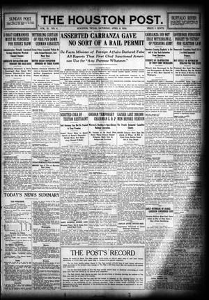 Primary view of object titled 'The Houston Post. (Houston, Tex.), Vol. 31, No. 4, Ed. 1 Saturday, April 8, 1916'.