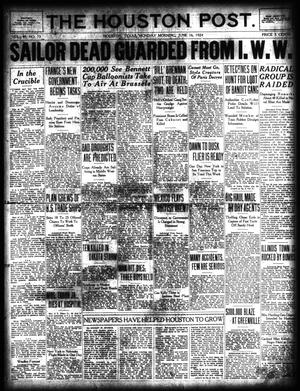Primary view of object titled 'The Houston Post. (Houston, Tex.), Vol. 40, No. 73, Ed. 1 Monday, June 16, 1924'.