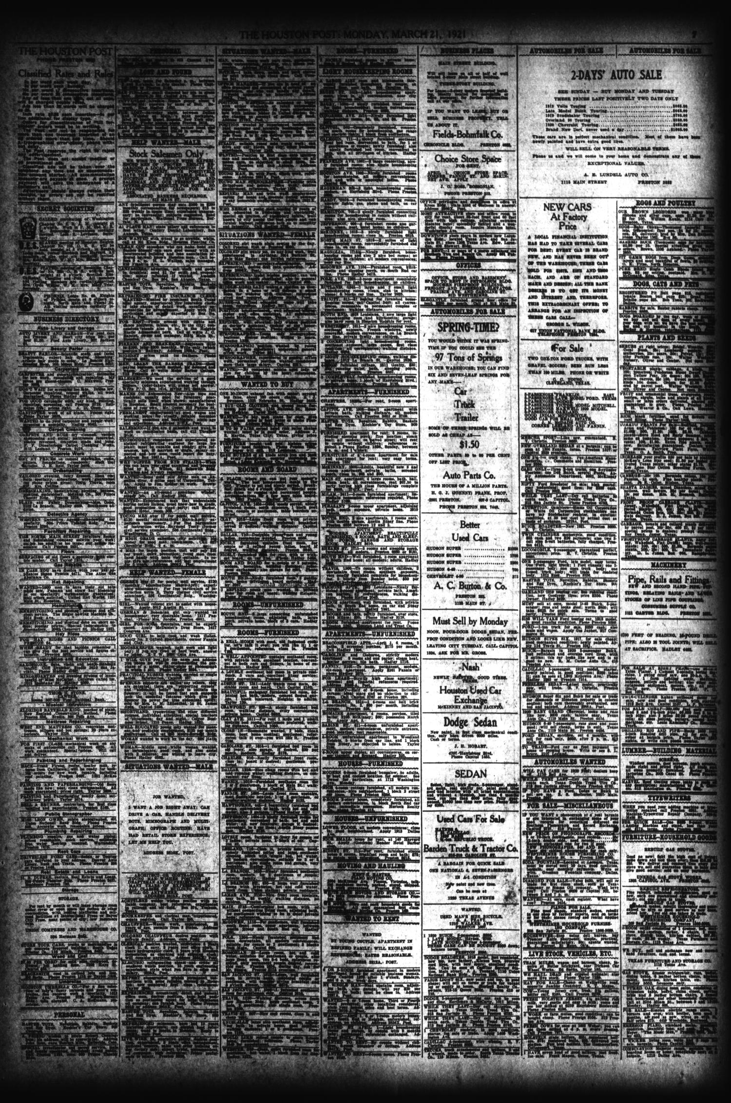 The Houston Post. (Houston, Tex.), Vol. 36, No. 352, Ed. 1 Monday, March  21, 1921   Page 7 Of 10   The Portal To Texas History