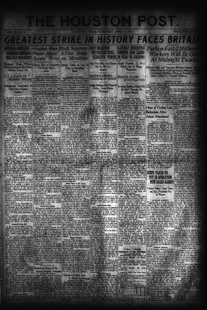 Primary view of object titled 'The Houston Post. (Houston, Tex.), Vol. 37, No. 5, Ed. 1 Saturday, April 9, 1921'.