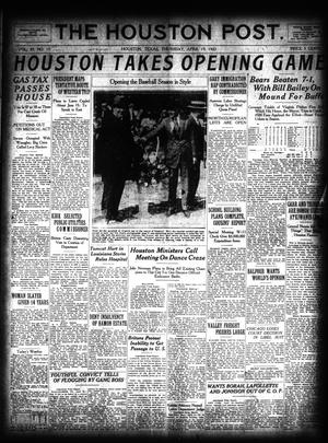 Primary view of object titled 'The Houston Post. (Houston, Tex.), Vol. 39, No. 15, Ed. 1 Thursday, April 19, 1923'.
