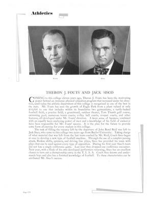 """Página blanca con dos fotos de hombres en la parte superior. Encima de las fotos está la palabra palabra """"Atletismo"""" en letras pequeñas, en negrita, debajo de las fotos están sus nombres  y 2 bloques de párrafos."""