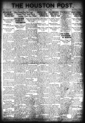 Primary view of object titled 'The Houston Post. (Houston, Tex.), Vol. 37, No. 14, Ed. 1 Monday, April 18, 1921'.