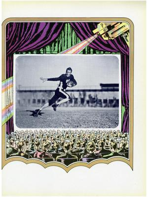 Black and white picture of a man in a football uniform, holding a football  as he runs the field. Picture is centered in the middle of a multicolored  graphic that consists of the entire page. People drawn at the bottom of  the graphic look onto the pictures as a crowd watching a movie.