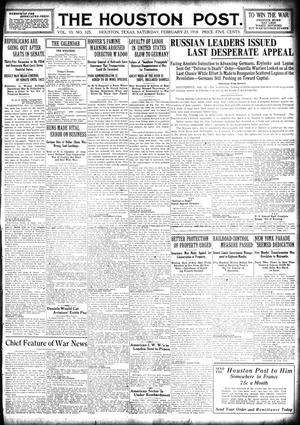 Primary view of object titled 'The Houston Post. (Houston, Tex.), Vol. 33, No. 325, Ed. 1 Saturday, February 23, 1918'.