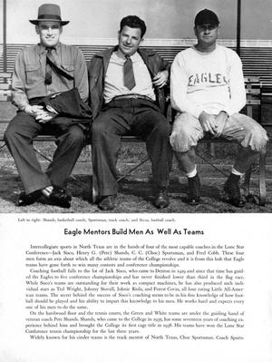 Half of page is filled with a photo of 3 men sitting on a bench. The one  on the left wears a hat. Bottom half of the page has the title Eagle Mentors  with three paragraphs under it.
