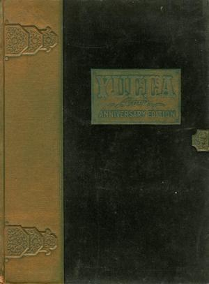 An old and worn yearbook color that is black in color, and yellowish on the spine. In the middle of the page is a yellowish box with the title of the yearbook. The box is especially worn out.