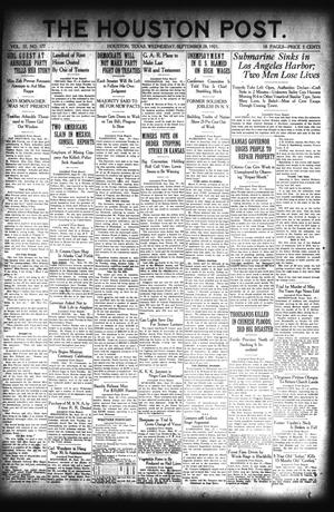 Primary view of object titled 'The Houston Post. (Houston, Tex.), Vol. 37, No. 177, Ed. 1 Wednesday, September 28, 1921'.