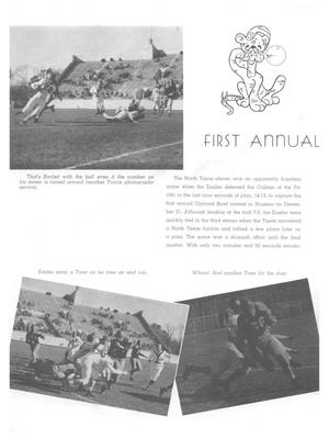 A white page with a photo of a football on the top left. Two photo's are on the bottom half of the page, with a paragraph in the top right. The title First Annual is seen in bold letters, with a graphic of a tiger at the top.