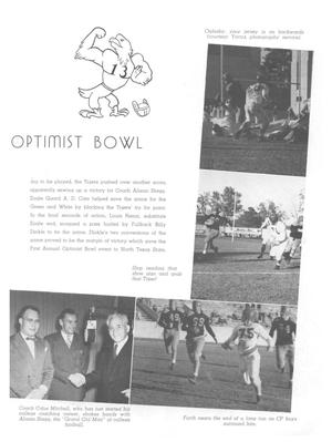 White page with the title Optimist Bowl under a drawing of an eagle. Under a block of words, 2 photo's are seen at the bottom of the page, and two  more photos on the right side of the page.