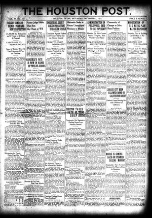 Primary view of object titled 'The Houston Post. (Houston, Tex.), Vol. 37, No. 243, Ed. 1 Saturday, December 3, 1921'.