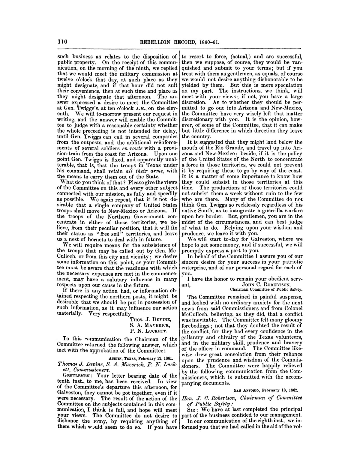The treachery in Texas, the secession of Texas, and the arrest of the United States officers and soldiers serving in Texas. Read before the New-York Historical Society, June 25, 1861. By Major J. T. Sprague, U. S. A.                                                                                                      [Sequence #]: 10 of 36